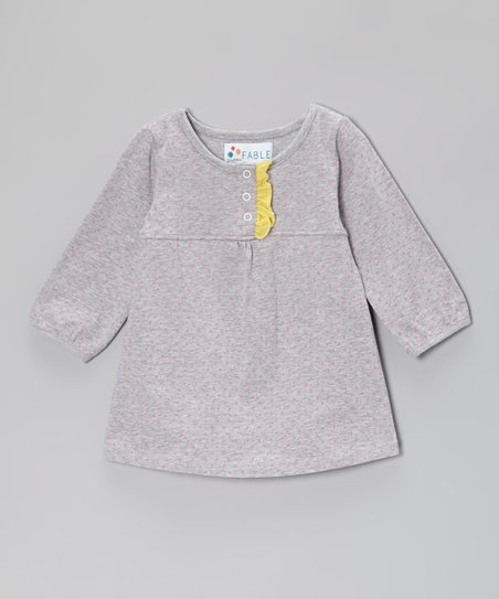 Heather Gray Polka Dot Skirted Bodysuit - Infant