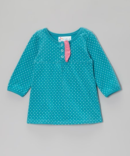 Lake Blue Polka Dot Skirted Bodysuit - Infant