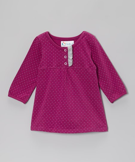 Boysenberry Polka Dot Skirted Bodysuit - Infant