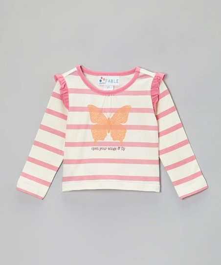 Bubble Gum Pink Stripe Butterfly Ruffle Tee - Toddler