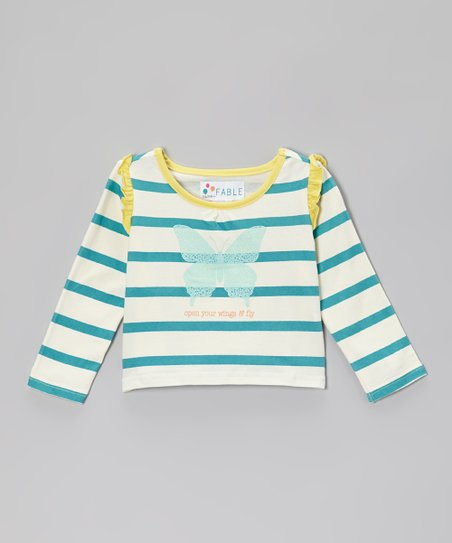 Lake Blue Stripe 'Dream' Ruffle Tee - Toddler