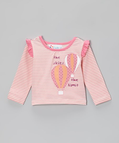 Bubblegum Pink Stripe Balloon Ruffle Tee - Infant