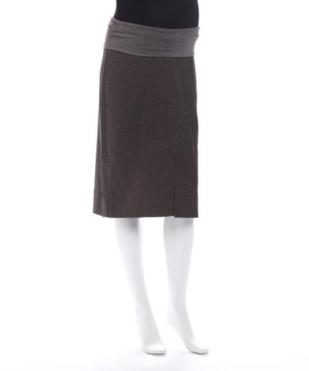 Brown Tweed Maternity Skirt