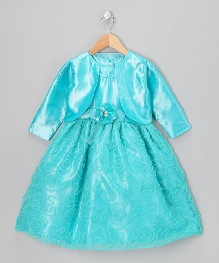 Turquoise Swirl Dress & Bolero - Toddler & Girls