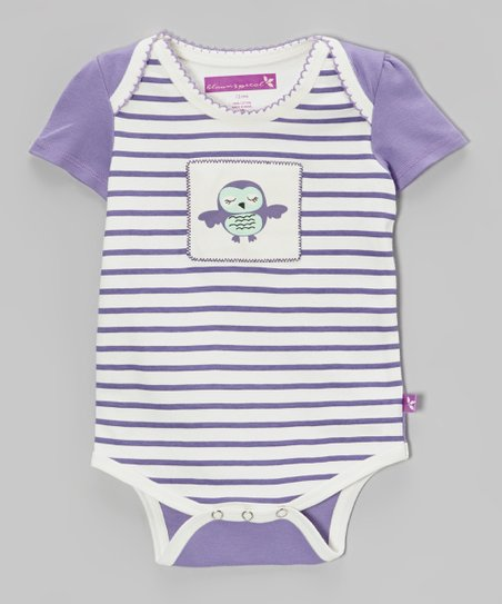 Daybreak & White Stripe Owl Bodysuit - Infant