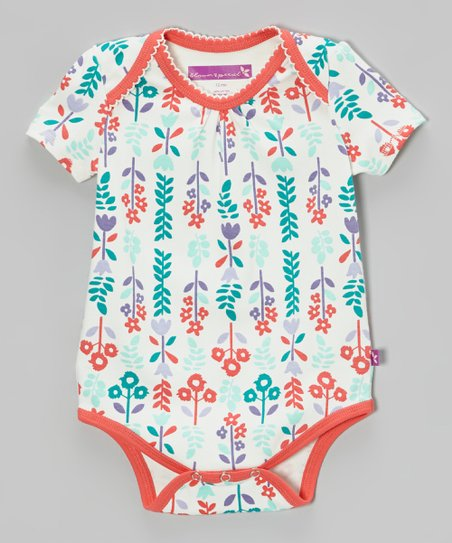 Coral & Sea Foam Floral Bodysuit - Infant