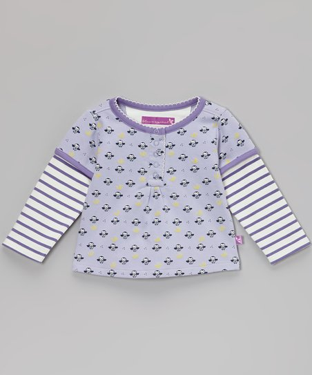 Purple Stripe Owl Layered Tee - Infant