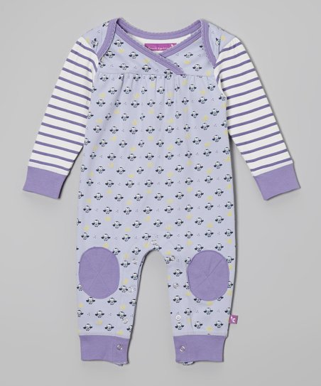 Purple Owl Stripe Surplice Playsuit - Infant