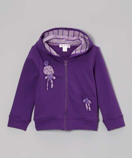 Royal Lilac Flower Zip-Up Hoodie - Toddler & Girls