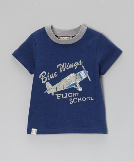 Navy 'Blue Wings' Ringer Tee - Toddler & Boys