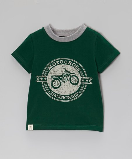 Forest Green 'Motocross' Ringer Tee - Toddler & Boys