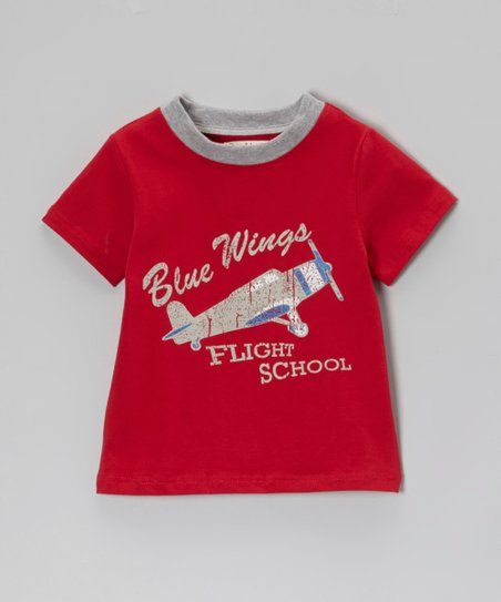 Red 'Blue Wings' Ringer Tee - Toddler & Boys