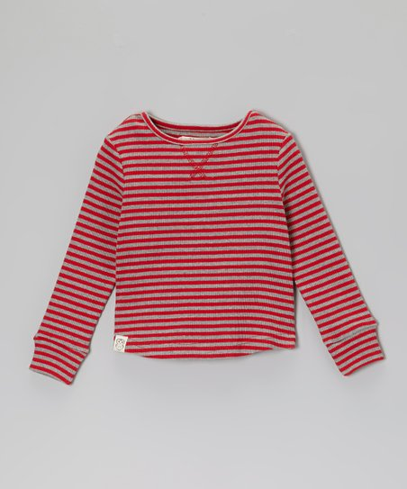 Red & Gray Stripe Thermal - Toddler & Boys