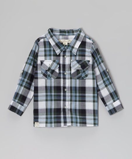 Hunter Green & Navy Plaid Button-Up - Toddler & Boys