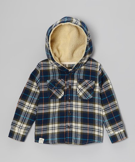 Blue & Olive Flannel Sherpa Hooded Button-Up - Toddler & Boys