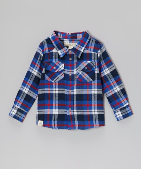 Cobalt Plaid Flannel Button-Up - Toddler & Boys