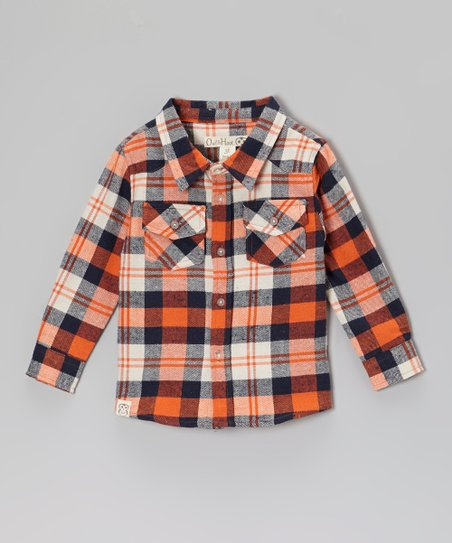 Orange & Navy Plaid Flannel Button-Up - Toddler & Boys