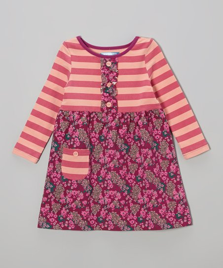 Raspberry & Boysenberry Stripe Ruffle Dress - Toddler & Girls