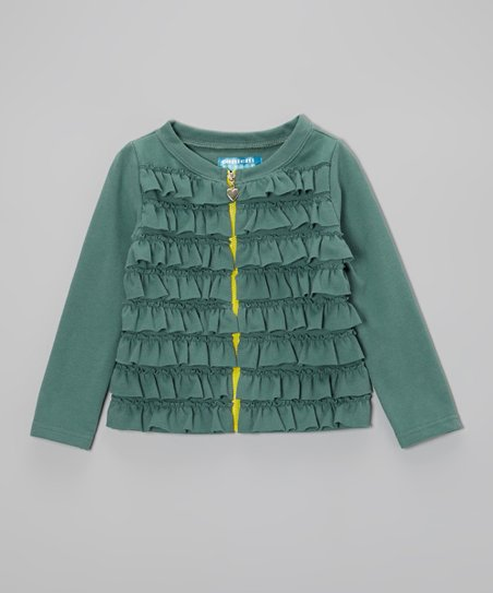 Deep Jungle Ruffle Zip-Up Cardigan - Toddler & Girls