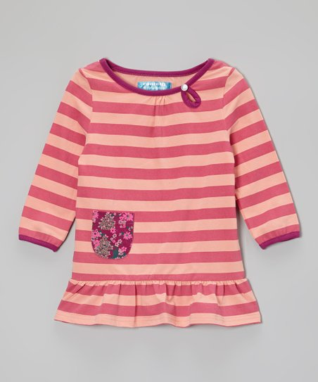 Raspberry Rose & Peach Amber Stripe Tunic - Toddler & Girls