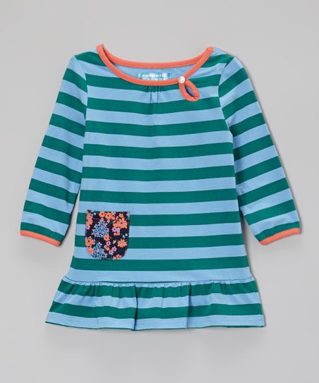 Blue & Deep Jungle Stripe Tunic - Toddler & Girls