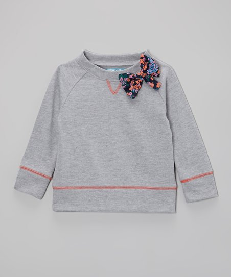 Light Heather Floral Bow Sweatshirt - Toddler & Girls