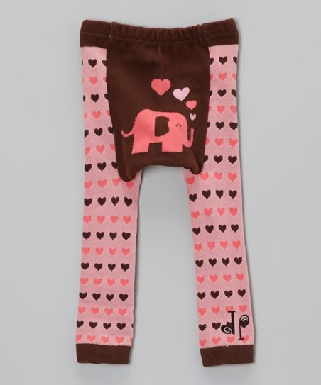 Pink & Brown Elephant Heart Leggings - Infant