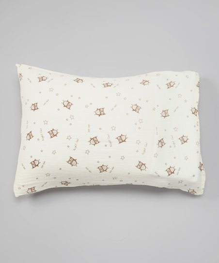 Natural & Brown Owl Organic Pillowcase