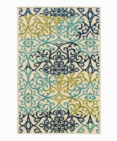Seafoam Floral Indoor/Outdoor Rug