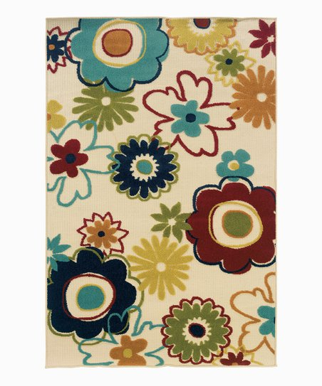 Tan & Red Floral Indoor/Outdoor Rug