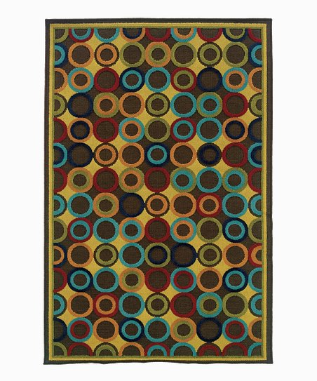 Blue & Brown Dot Indoor/Outdoor Rug