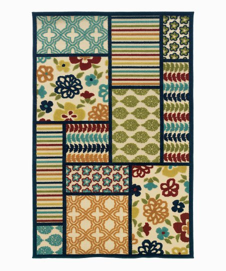 Tan & Blue Quilt Indoor/Outdoor Rug