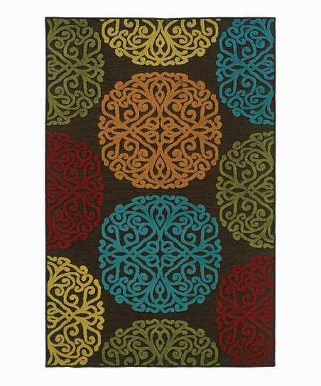 Orange & Blue Ornate Indoor/Outdoor Rug