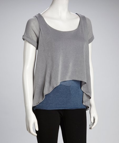 Luna Claire Gray Vera Hi-Low Layered Top
