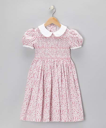 Pink Floral Smocked Corduroy Dress - Infant
