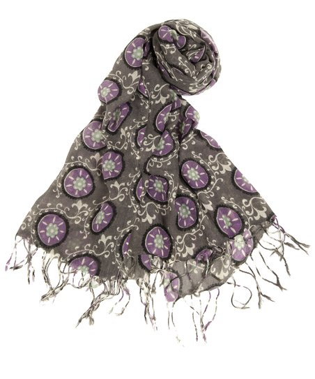 Purple Suzani Scarf