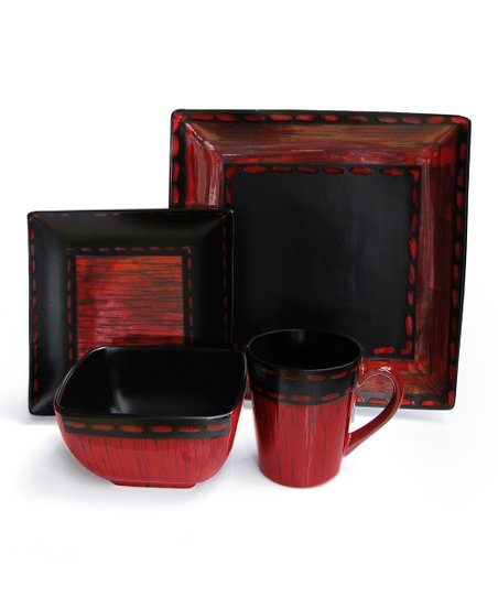 Black & Red Livingston 16-Piece Dinnerware Set