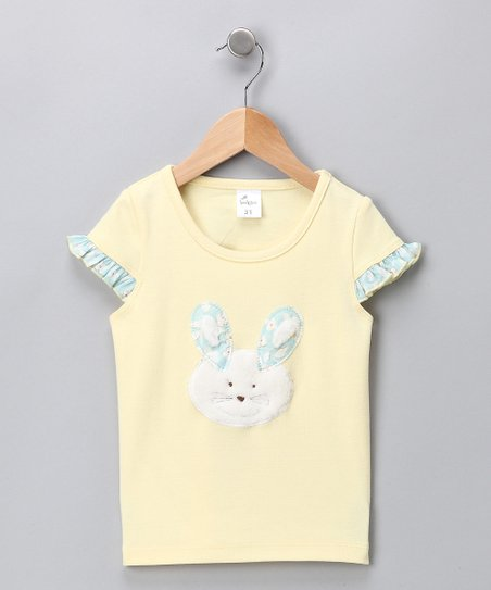 Yellow Bunny Cap-Sleeve Tee - Girls