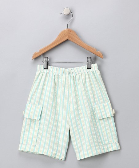 Yellow & Blue Seersucker Cargo Shorts - Infant, Toddler & Boys