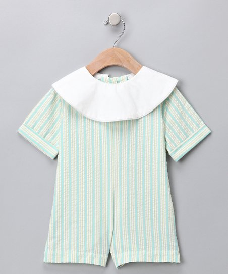 Blue Belted Seersucker Romper - Infant