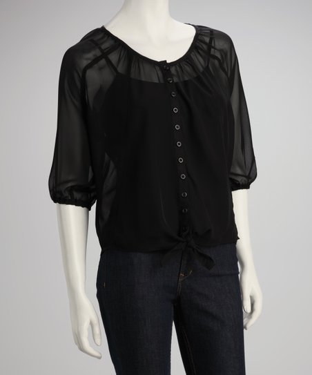Black Sheer Button-Up