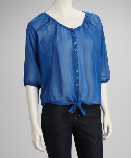 Olympian Blue Sheer Button-Up