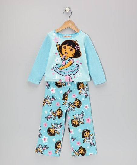 Turquoise Dora Fleece Pajama Set - Infant