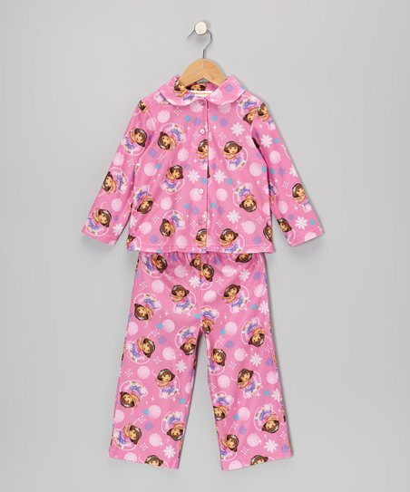 Pink Dora Button-Up Pajama Set