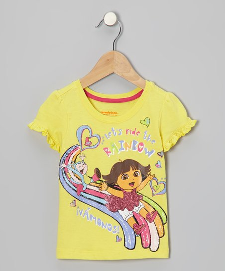 Yellow Dora 'Rainbow' Cap-Sleeve Tee - Toddler & Girls