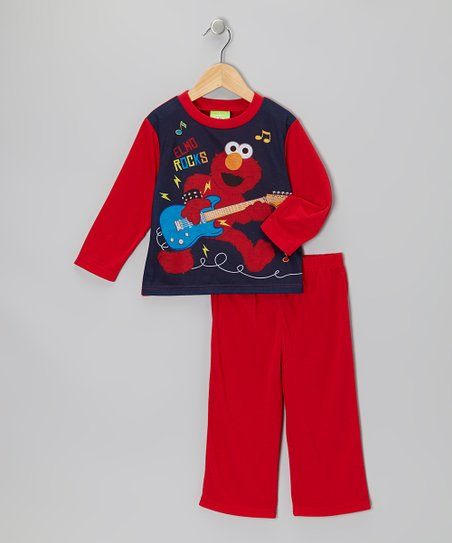 Navy & Red Elmo Guitar Pajama Set - Infant