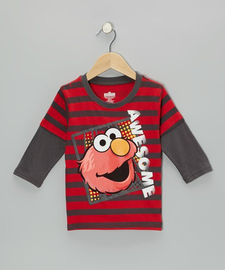 Red & Gray Stripe Elmo Layered Tee - Toddler