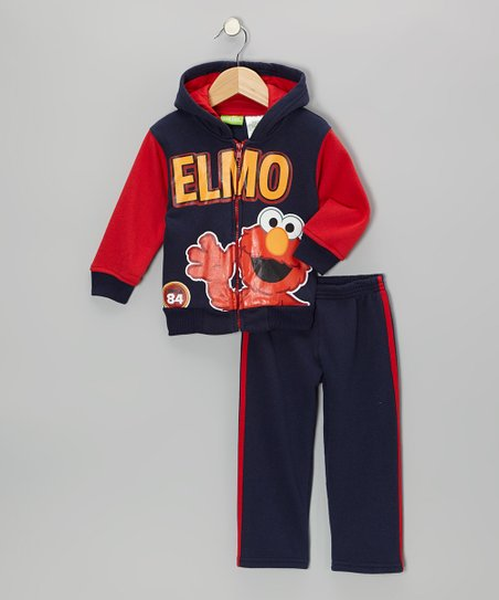 Navy & Red 'Elmo' Hooded Tracksuit Set