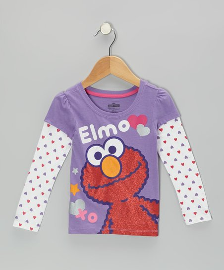 Lilac Hearts 'Elmo' Layered Tee - Toddler
