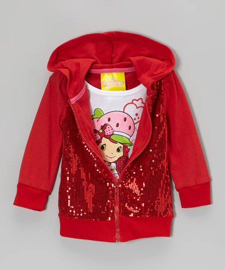 Red Sequin Layered Hoodie - Toddler & Girls